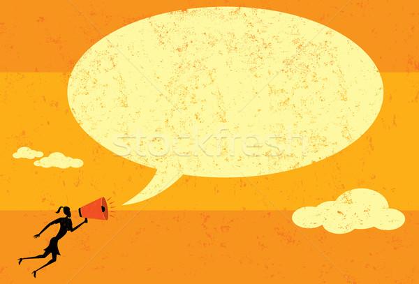 Kommunikál megafon üzletasszony bejelent üzenet szövegbuborék Stock fotó © retrostar