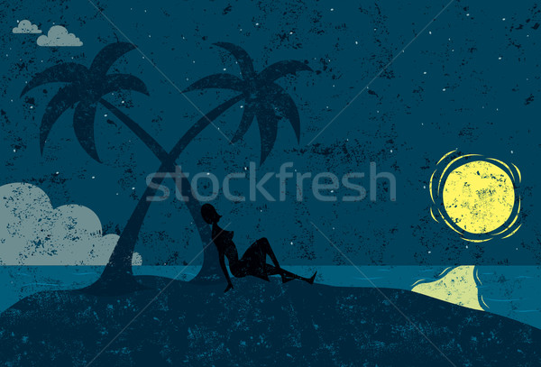 женщину острове сидящий пальма пустыне океана Сток-фото © retrostar