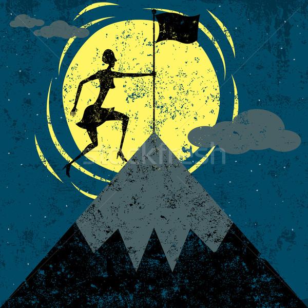 Banderą górskich kobieta sukces Zdjęcia stock © retrostar