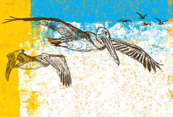 Gaivotas voador atrás pássaro desenho Foto stock © retrostar
