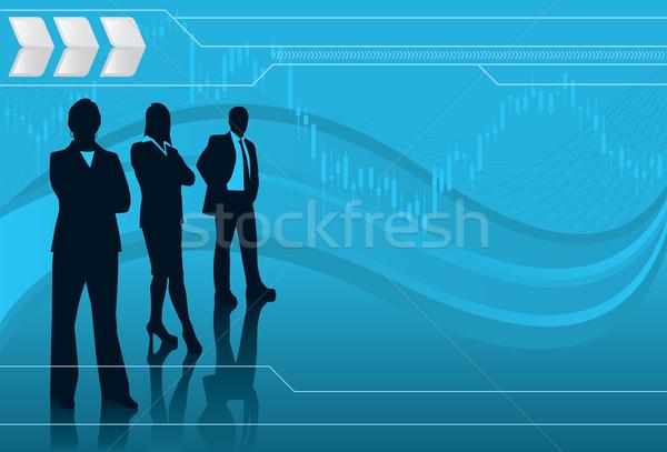 Financieros socios grupo gente de negocios silueta stock Foto stock © retrostar