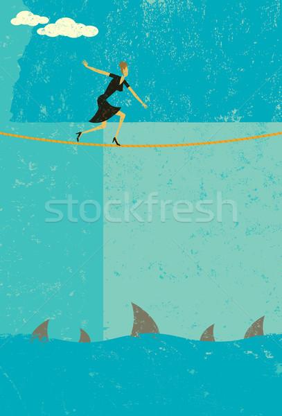 Corde raide rétro femme d'affaires grand risque Photo stock © retrostar