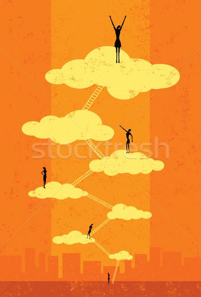 небо успешный предпринимателей скалолазания корпоративного лестнице Сток-фото © retrostar