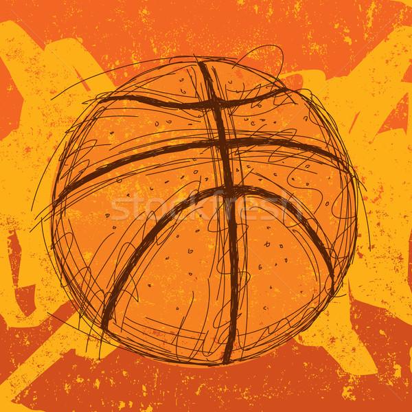 баскетбол спорт мяча фоны рисунок эскиз Сток-фото © retrostar