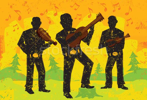 Músicos jogar sobre abstrato separado camada Foto stock © retrostar