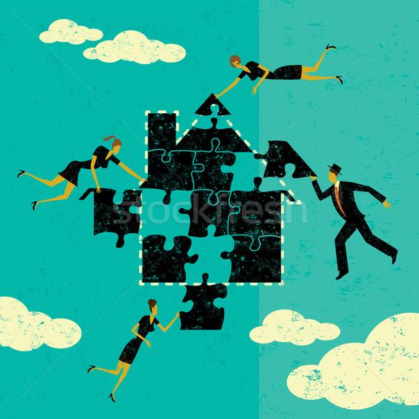 домой ипотечный деловые люди головоломки вместе Сток-фото © retrostar