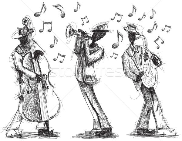 Dzsessz zenekar firkák kézzel rajzolt trombita játékos Stock fotó © retrostar