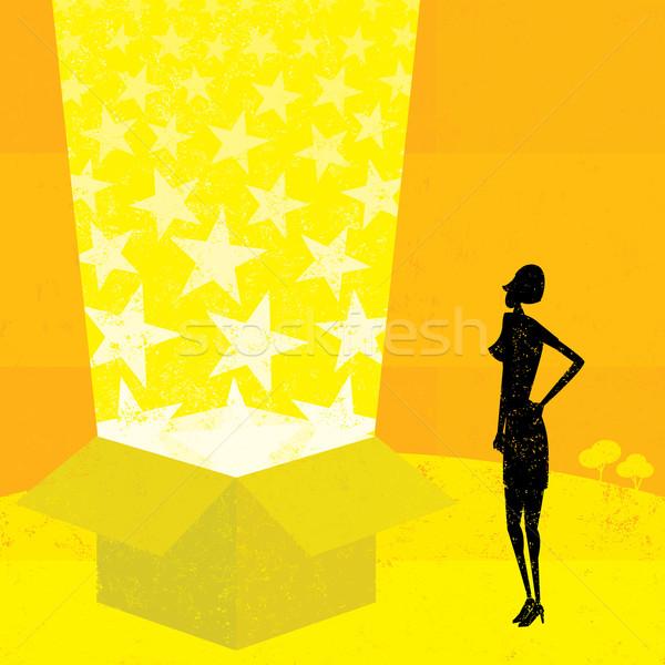 光 ビーム ボックス 女性実業家 見える 魔法 ストックフォト © retrostar