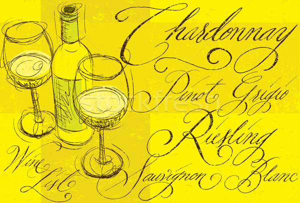 White wine with calligraphy Stock photo © retrostar