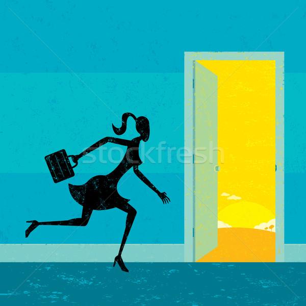 Novo oportunidades empresária porta mulher Foto stock © retrostar
