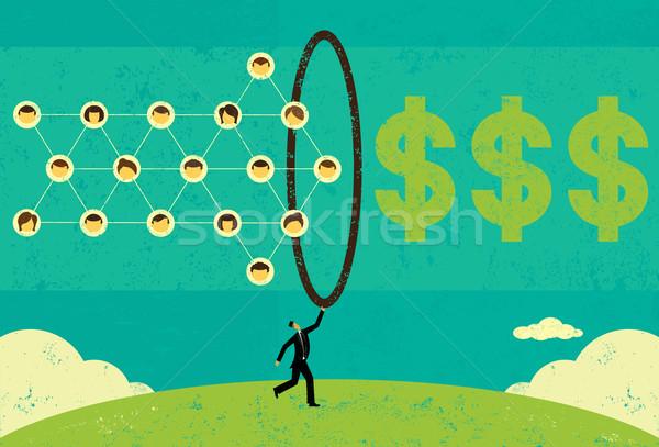 бизнесмен деньги сеть Сток-фото © retrostar