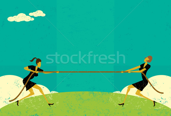 Wojny przedsiębiorców rynku kobiet liny Zdjęcia stock © retrostar