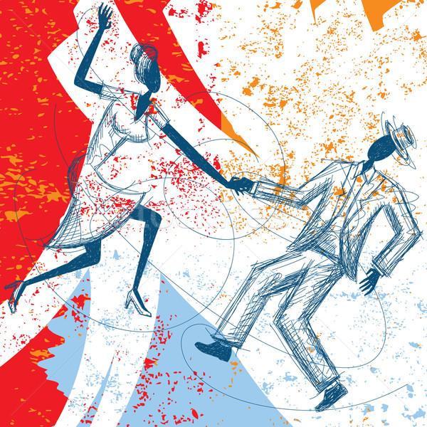 Huśtawka taniec para streszczenie strony człowiek Zdjęcia stock © retrostar