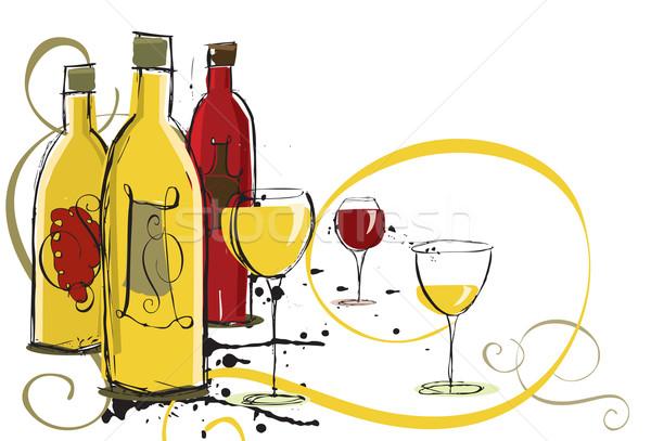 Dessinés à la main vin bouteilles verres à vin art Photo stock © retrostar