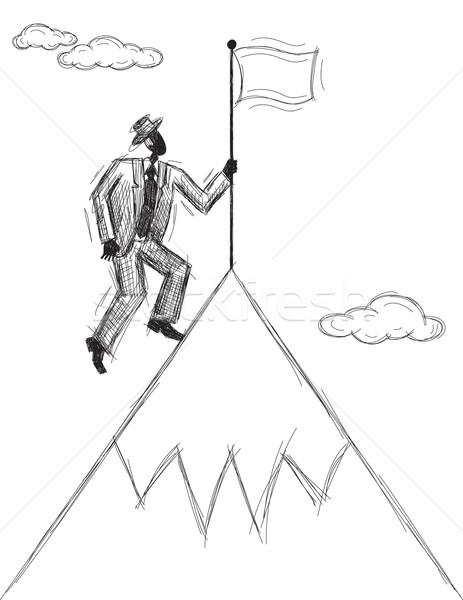 Bandera montana hombre empresario Foto stock © retrostar