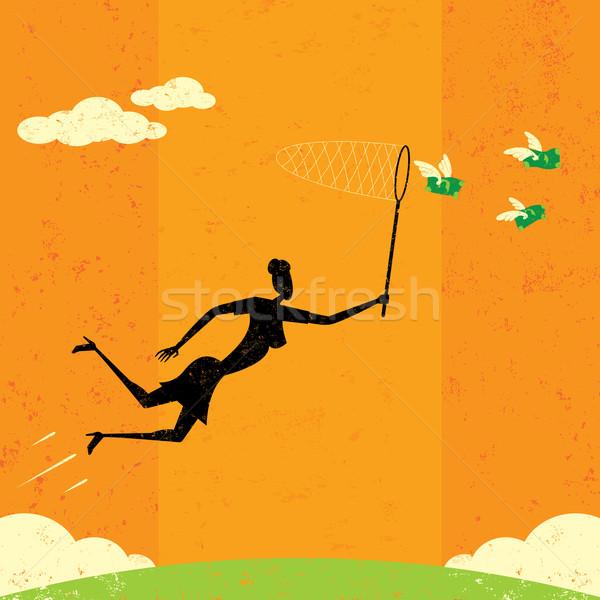 долларов деловая женщина Flying деньги бабочка чистой Сток-фото © retrostar