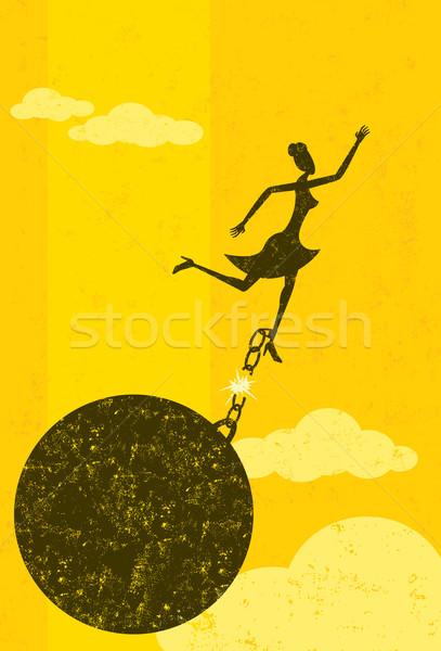 Wolna piłka łańcucha kobieta interesu kobieta osobno Zdjęcia stock © retrostar