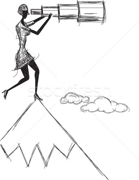 Kobieta patrząc przyszłości notebooka Zdjęcia stock © retrostar
