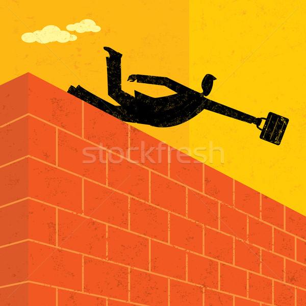 Skoki murem biznesmen cel człowiek ściany Zdjęcia stock © retrostar