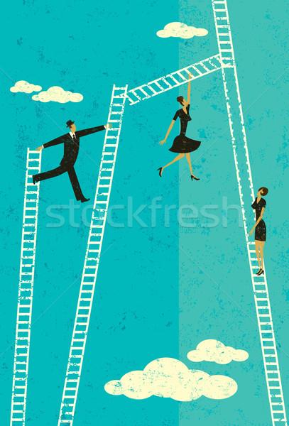 Escalera éxito gente de negocios toma escalada Foto stock © retrostar