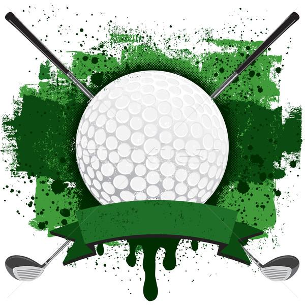 Golf jelvény golflabda kettő golfütők szalag Stock fotó © retrostar