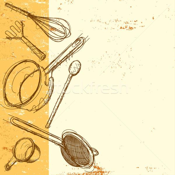 приготовления рисованной кухне Сток-фото © retrostar
