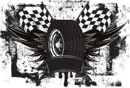Carreras coche de carreras neumático llamas bandera Foto stock © retrostar