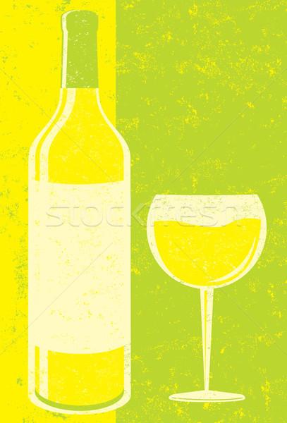 Vino botella de vino vidrio arte beber copa de vino Foto stock © retrostar