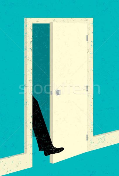ногу двери бизнесмен новых возможность человека Сток-фото © retrostar
