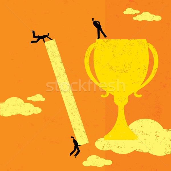 Sucesso equipe de negócios governante medir troféu Foto stock © retrostar