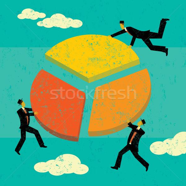 прибыль разделение бизнесменов мужчин Сток-фото © retrostar