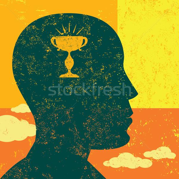 Objetivo mente mujer pensando independiente capa Foto stock © retrostar