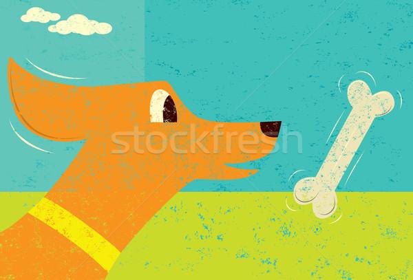 Hueso de perro perro hueso independiente capa retro Foto stock © retrostar