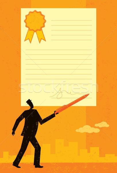 подписания договор бизнесмен большой аннотация Skyline Сток-фото © retrostar