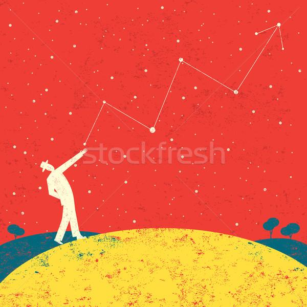 Foto stock: Previsão · futuro · empresário · escrito · estrelas