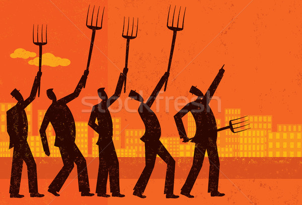 Enojado empresarios protesta independiente hombres financiar Foto stock © retrostar