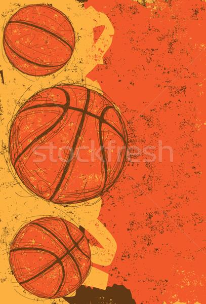 Tres dibujado a mano deporte baloncesto fondos Foto stock © retrostar