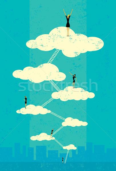 Céu bem sucedido empresárias escalada corporativo escada Foto stock © retrostar