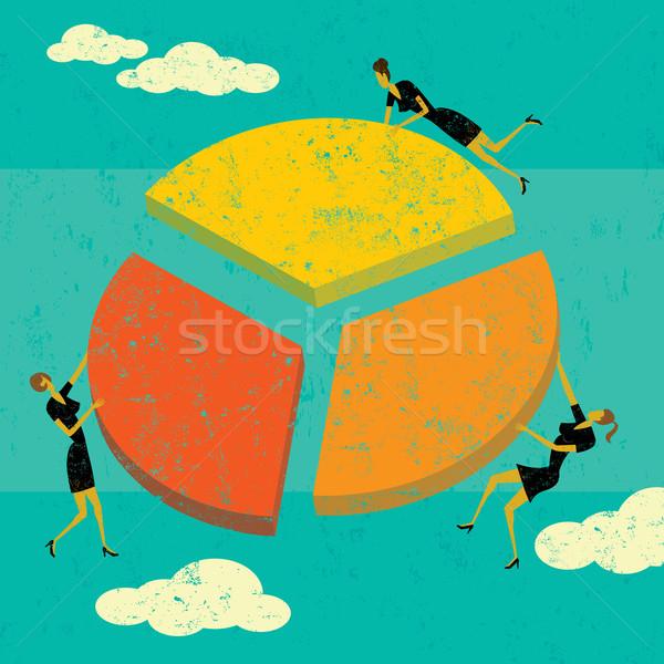 Zysk podział przedsiębiorców kobiet Zdjęcia stock © retrostar