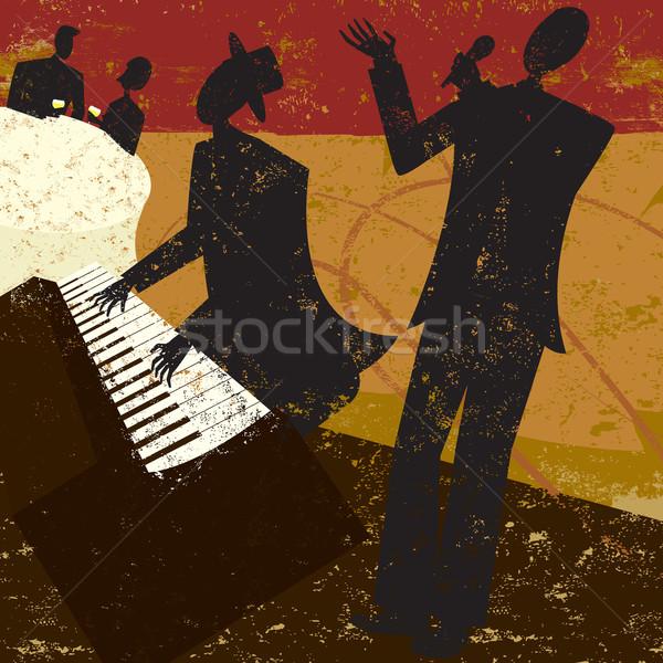Klub piosenkarka jazz fortepian gracz para Zdjęcia stock © retrostar