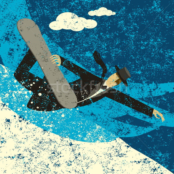 Snowboardzie biznesmen metoda człowiek śniegu Zdjęcia stock © retrostar