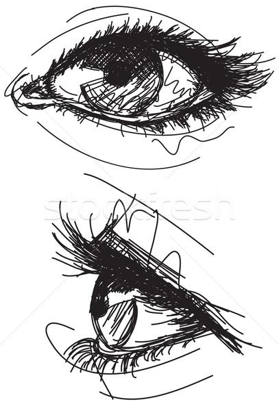 Kadın gözler ızgara kâğıt Stok fotoğraf © retrostar