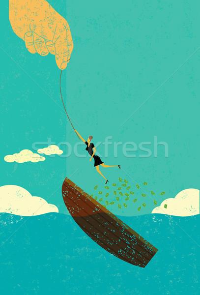 Ajudar falência mulher barco dinheiro Foto stock © retrostar