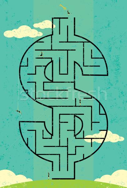 ключевые богатство лабиринт предпринимателей глядя доллара Сток-фото © retrostar