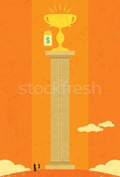 Precio éxito gente de negocios mirando alto costo Foto stock © retrostar