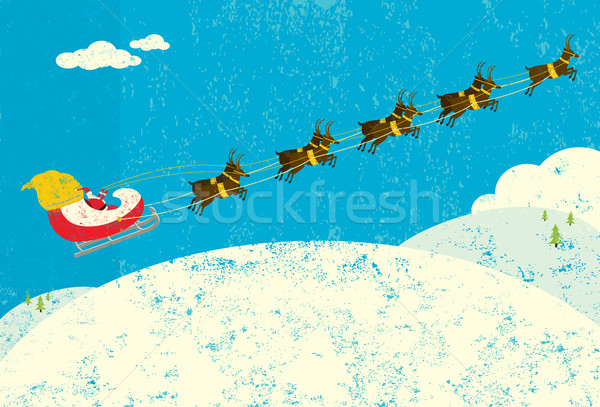 северный олень Дед Мороз Flying сани отдельный Сток-фото © retrostar