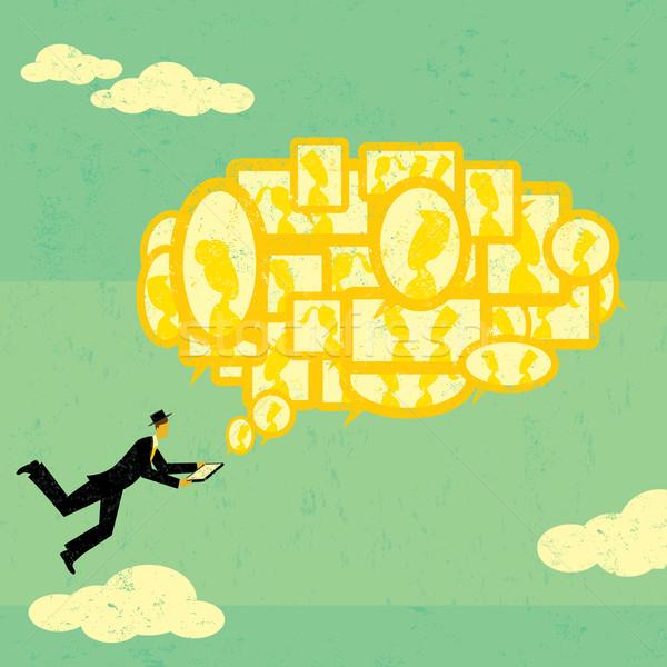 бизнесмен цифровой таблетка Сток-фото © retrostar