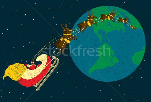 представляет Дед Мороз Flying вокруг Мир Сток-фото © retrostar