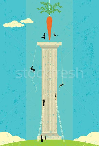 Marchew ludzi biznesu wspinaczki ludzi kolumnie oddzielny Zdjęcia stock © retrostar