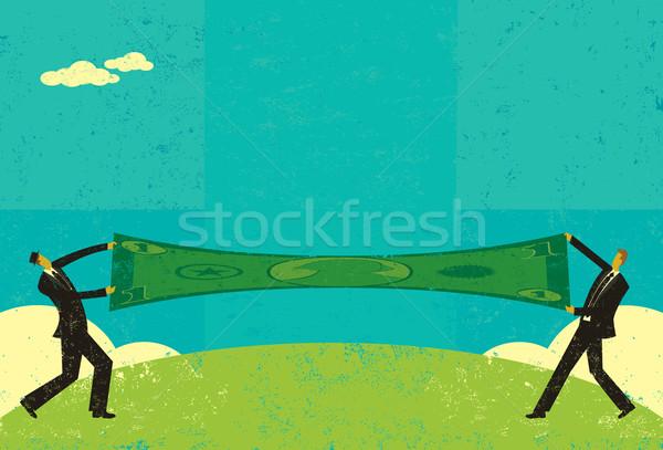 Nyújtás dollár kettő üzletemberek megtakarítás különálló Stock fotó © retrostar